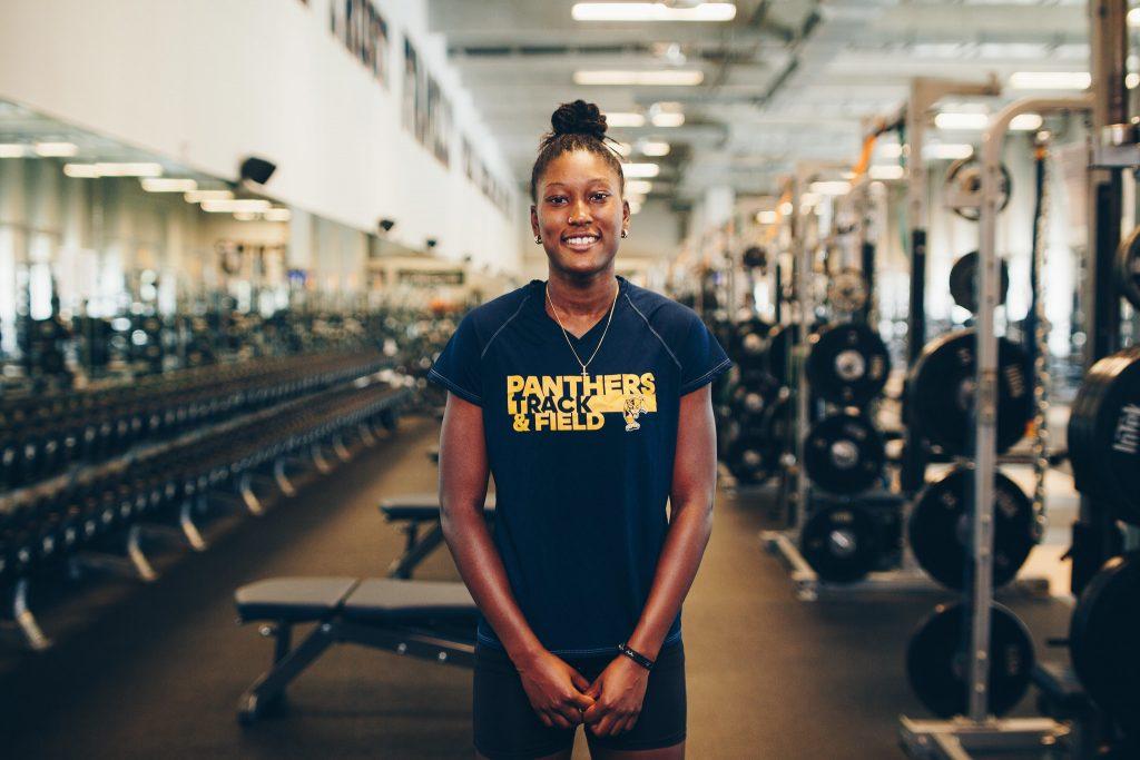Clarissa Cutliff in weight room
