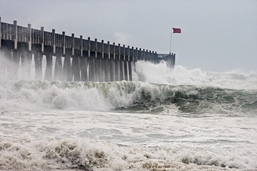Photo taken amid sea spray and crashing waves as Hurricane Ike's outer bands impact the Florida coast, September 2008.
